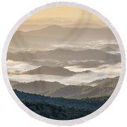 Mountain Valley Fog - Blue Ridge Parkway Round Beach Towel