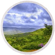 Round Beach Towel featuring the photograph Mountain View by Charuhas Images