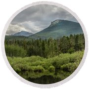 Mountain View From The Marsh Round Beach Towel