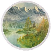 Mountain View Glen Round Beach Towel