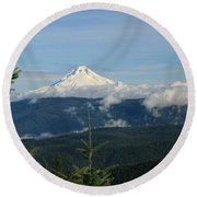 Mountain View Round Beach Towel by Sheila Ping