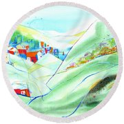 Mountain Village Round Beach Towel