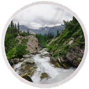 Round Beach Towel featuring the photograph Mountain Vista by Margaret Pitcher