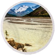 Mountain With A Human Face Round Beach Towel