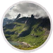 Mountain With Horns From Brunakseltind Round Beach Towel