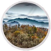 Round Beach Towel featuring the photograph Mountains 2 by Walt Foegelle