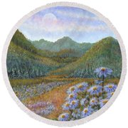 Mountains And Asters Round Beach Towel by Holly Carmichael
