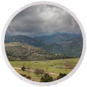 Mountains And Clouds Round Beach Towel