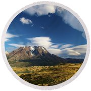 Mountains And Clouds In Patagonia Round Beach Towel