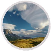Mountains And Lenticular Cloud In Patagonia Round Beach Towel