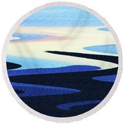 Mountains And Sky Abstract Round Beach Towel