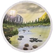 Mountains And Stream Round Beach Towel