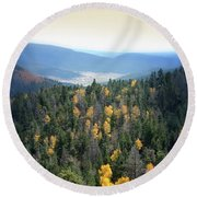Mountains And Valley Round Beach Towel by Jill Battaglia