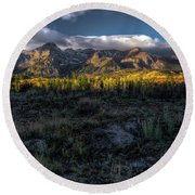 Mountains At Sunrise - 0381 Round Beach Towel