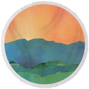 Mountains At Sunrise Round Beach Towel by Jacquie Gouveia