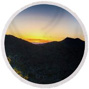 Mountains At Sunset Round Beach Towel