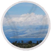 Mountains Far Away  3 Round Beach Towel by George Katechis