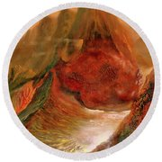 Mountains Fire Round Beach Towel
