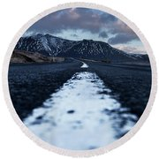 Mountains In Iceland Round Beach Towel