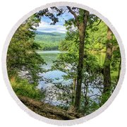 Round Beach Towel featuring the photograph Mountains, Lake And Trail by Kerri Farley