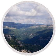 Mountains Of Central Italy Round Beach Towel