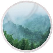 Mountains Scenery In The Mist Round Beach Towel