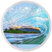 Mountains To The Sea Round Beach Towel by James Roemmling