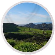 Round Beach Towel featuring the photograph Mountains To Valley View by Matt Harang