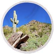 Mountainside Cactus 2 Round Beach Towel