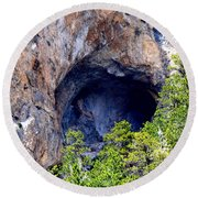 Mountainside Cavern Round Beach Towel