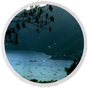 Mountainside Coral Bay Round Beach Towel by Robert Nickologianis