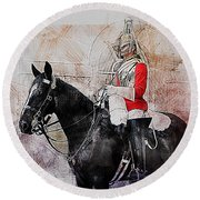 Mounted Household Cavalry Soldier On Guard Duty In Whitehall Lon Round Beach Towel