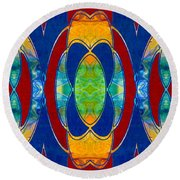 Mounted On A Wall Abstract Bliss Art By Omashte Round Beach Towel