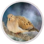 Mourning Dove Of Winter Round Beach Towel