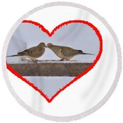 Mourning Doves Kissing Round Beach Towel