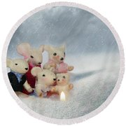 Mouse In Snow Round Beach Towel by Heike Hultsch