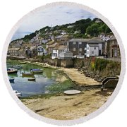 Mousehole Harbour, Cornwall Round Beach Towel