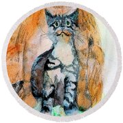 Round Beach Towel featuring the painting Moustache Boy Kitty by Lisa Kaiser
