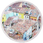 Moustiers Sainte Marie Roofs Round Beach Towel