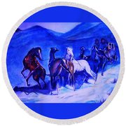 Move Over. Round Beach Towel by Khalid Saeed