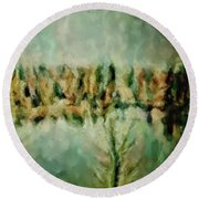 Movie A Chance In The World Placid Lake Frozen In The Winter Fall Ice Bitter Cold Uninviting Cool Pa Round Beach Towel by MendyZ