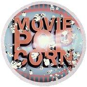 Movie Pop Corn Round Beach Towel