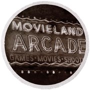 Round Beach Towel featuring the photograph Movieland Arcade - Gritty by Stephen Stookey