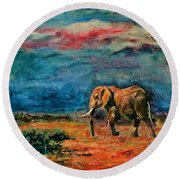 Moving Away Round Beach Towel by Khalid Saeed