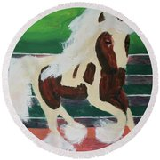 Round Beach Towel featuring the painting Moving Horse by Donald J Ryker III