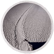 Moving Rocks Number 2  Death Valley Bw Round Beach Towel