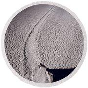 Moving Rocks Number 2  Death Valley Bw Round Beach Towel by Steve Gadomski