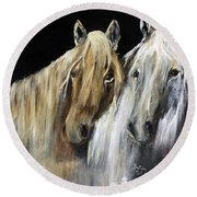 Mozart And The White Wind Horse Round Beach Towel by Barbie Batson