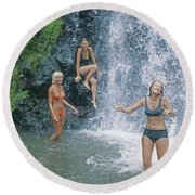 Round Beach Towel featuring the photograph Mp-457 Fun At Honopu Falls Hi by Ed Cooper Photography