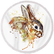 Round Beach Towel featuring the mixed media Mr. Bunny by Marian Voicu